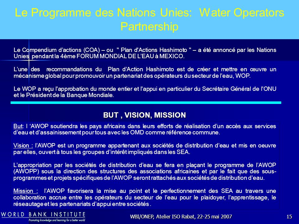 Le Programme des Nations Unies: Water Operators Partnership