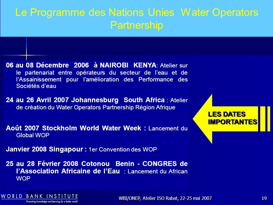 Le Programme des Nations Unies Water Operators Partnership