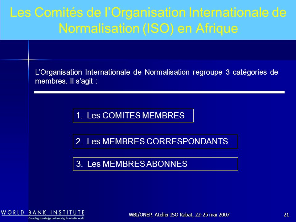 WBI/ONEP, Atelier ISO Rabat, 22-25 mai 2007