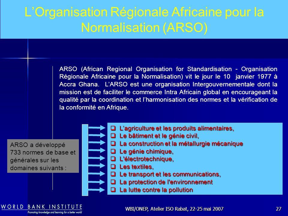 L'Organisation Régionale Africaine pour la Normalisation (ARSO)