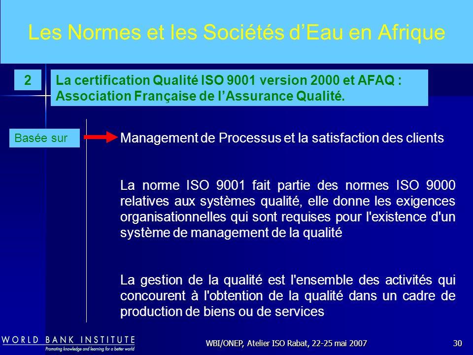 Les Normes et les Sociétés d'Eau en Afrique
