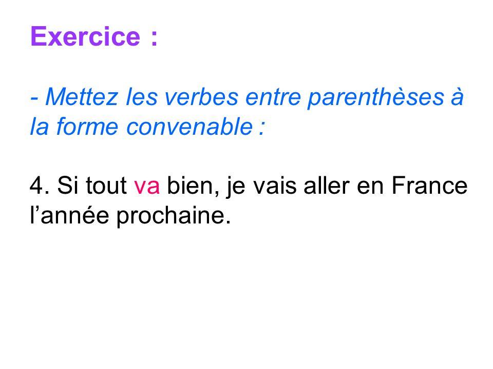 Exercice : - Mettez les verbes entre parenthèses à la forme convenable : 4.