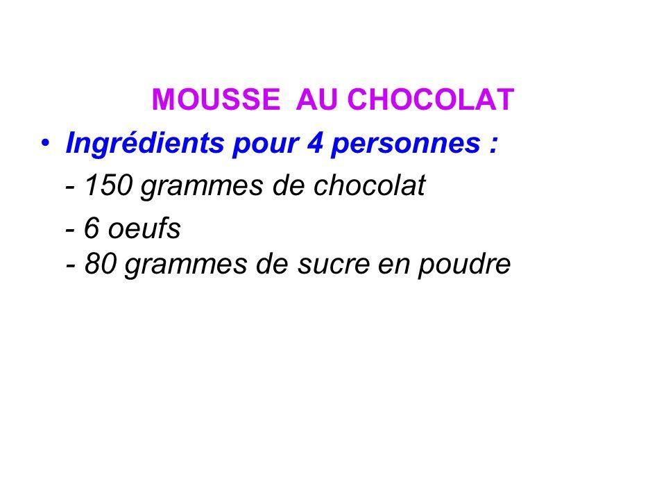 MOUSSE AU CHOCOLAT Ingrédients pour 4 personnes : - 150 grammes de chocolat.