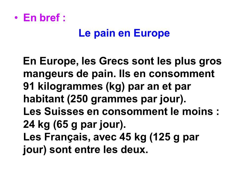 En bref : Le pain en Europe.