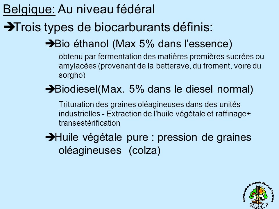 Belgique: Au niveau fédéral Trois types de biocarburants définis: