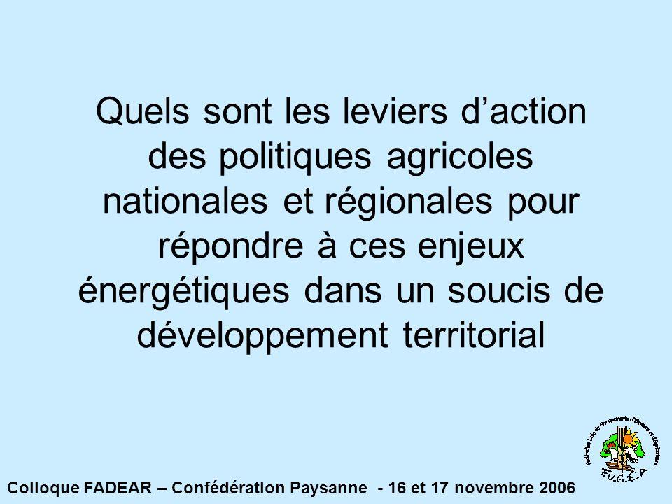 Quels sont les leviers d'action des politiques agricoles nationales et régionales pour répondre à ces enjeux énergétiques dans un soucis de développement territorial