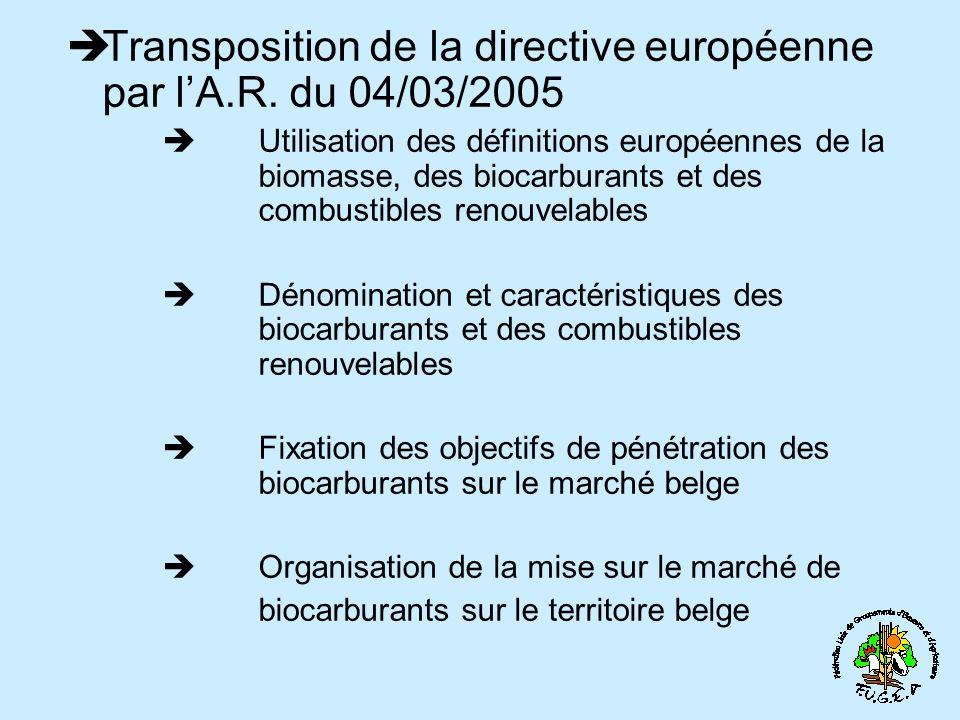 Transposition de la directive européenne par l'A.R. du 04/03/2005