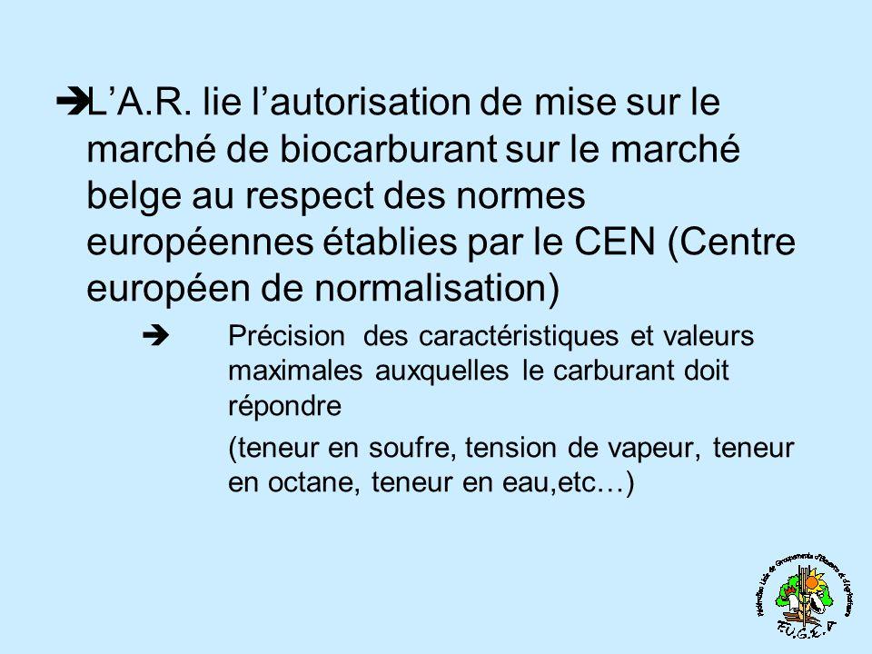 L'A.R. lie l'autorisation de mise sur le marché de biocarburant sur le marché belge au respect des normes européennes établies par le CEN (Centre européen de normalisation)
