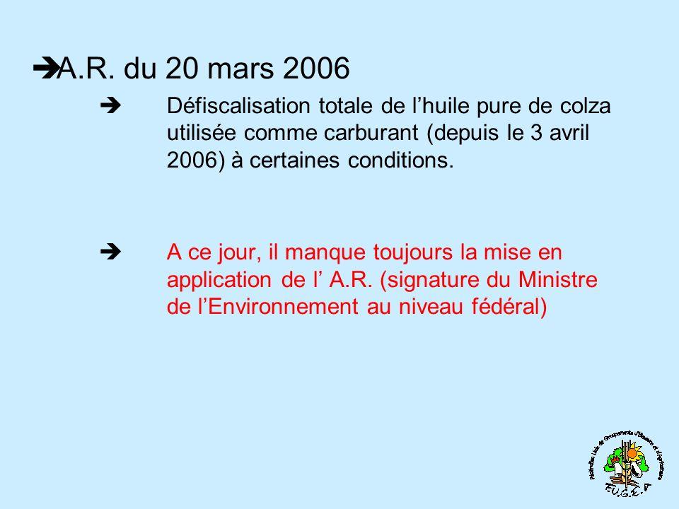 A.R. du 20 mars 2006 Défiscalisation totale de l'huile pure de colza utilisée comme carburant (depuis le 3 avril 2006) à certaines conditions.