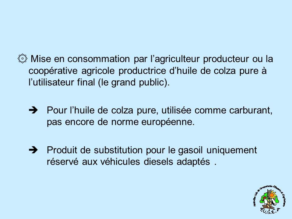۞ Mise en consommation par l'agriculteur producteur ou la coopérative agricole productrice d'huile de colza pure à l'utilisateur final (le grand public).