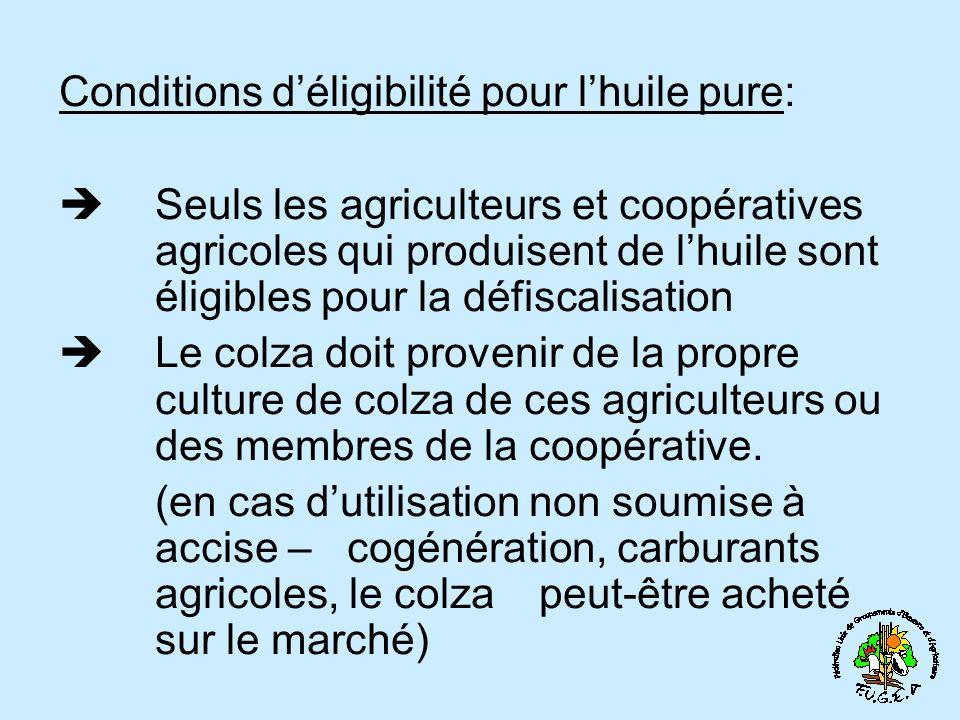 Conditions d'éligibilité pour l'huile pure: