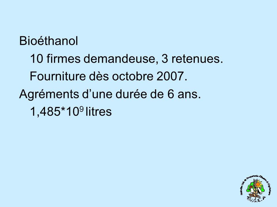 Bioéthanol 10 firmes demandeuse, 3 retenues. Fourniture dès octobre 2007. Agréments d'une durée de 6 ans.