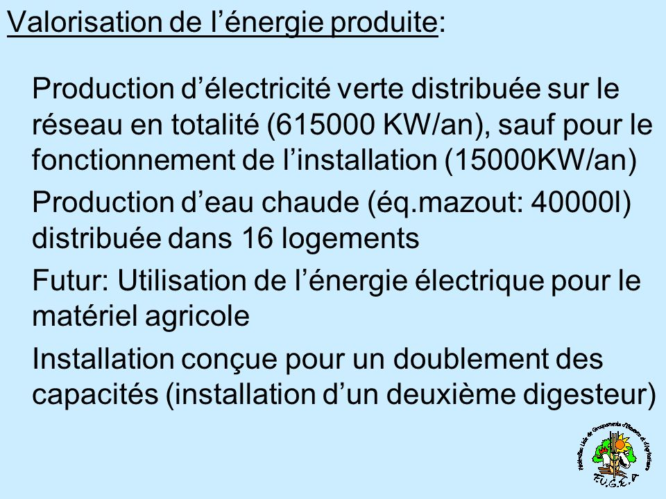 Valorisation de l'énergie produite:
