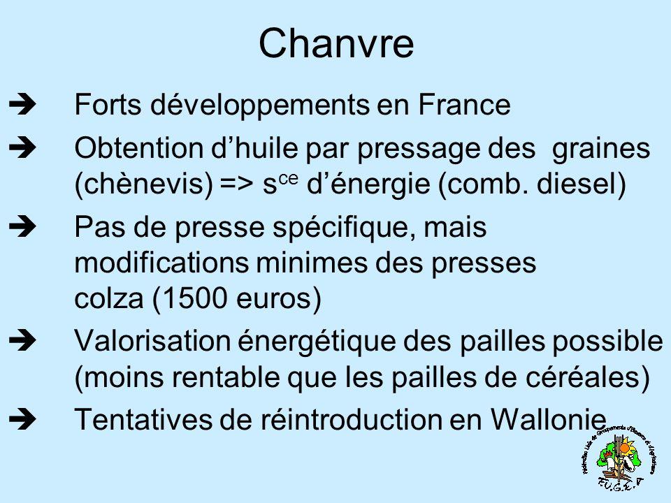 Chanvre Forts développements en France
