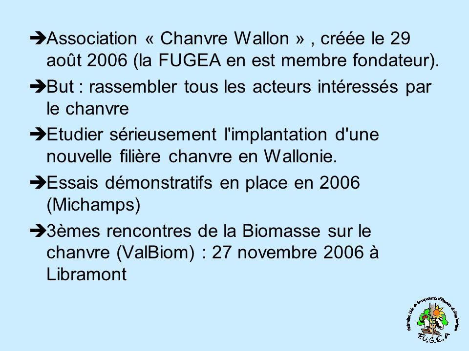 Association « Chanvre Wallon » , créée le 29 août 2006 (la FUGEA en est membre fondateur).