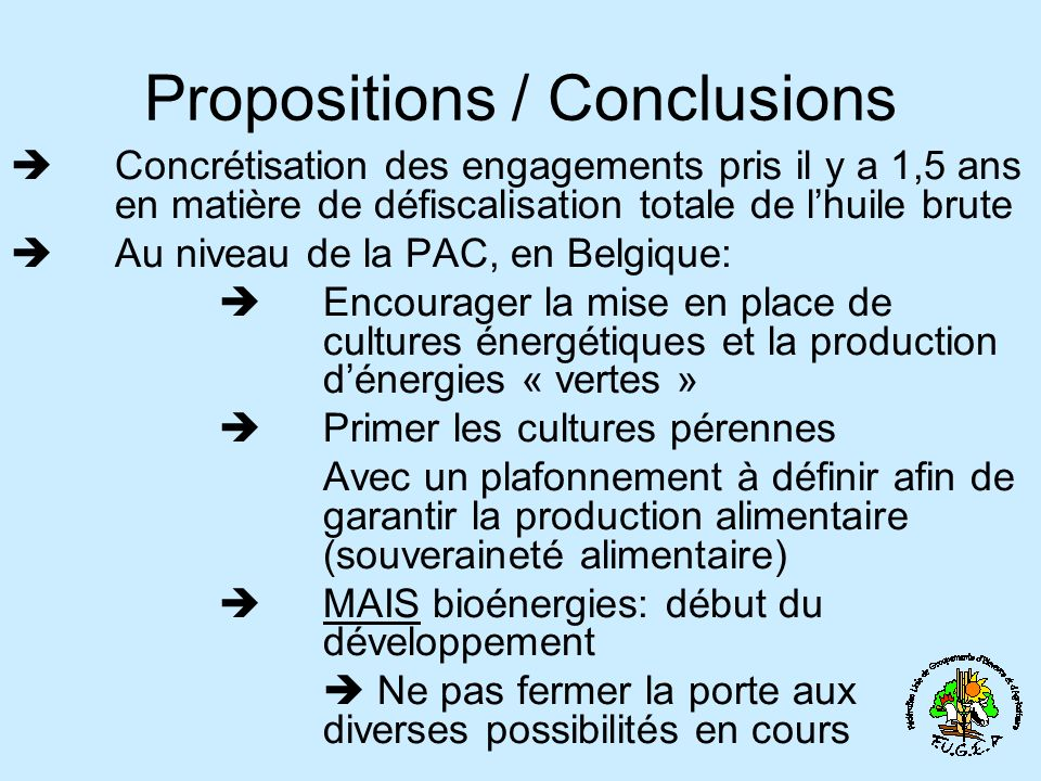 Propositions / Conclusions