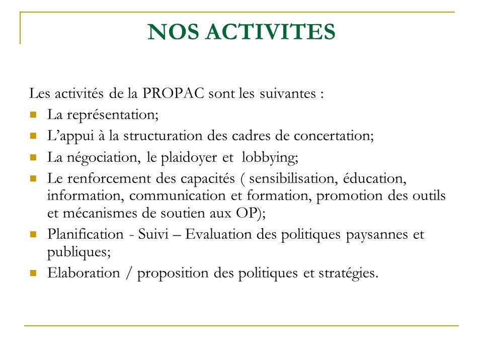 NOS ACTIVITES Les activités de la PROPAC sont les suivantes :