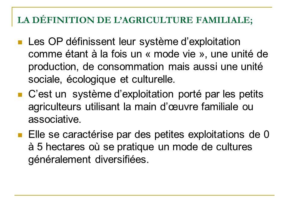 LA DÉFINITION DE L'AGRICULTURE FAMILIALE;