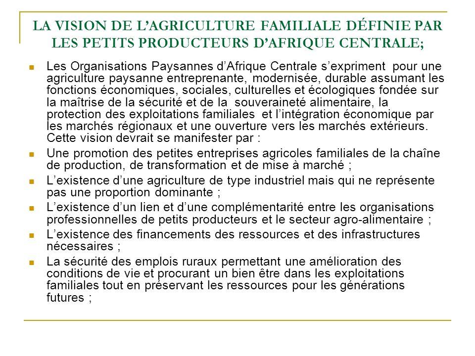 LA VISION DE L'AGRICULTURE FAMILIALE DÉFINIE PAR LES PETITS PRODUCTEURS D'AFRIQUE CENTRALE;
