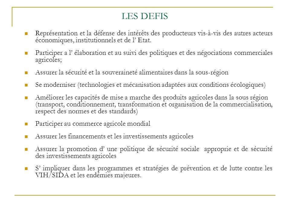 LES DEFIS Représentation et la défense des intérêts des producteurs vis-à-vis des autres acteurs économiques, institutionnels et de l' Etat.