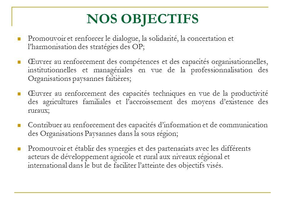 NOS OBJECTIFS Promouvoir et renforcer le dialogue, la solidarité, la concertation et l'harmonisation des stratégies des OP;