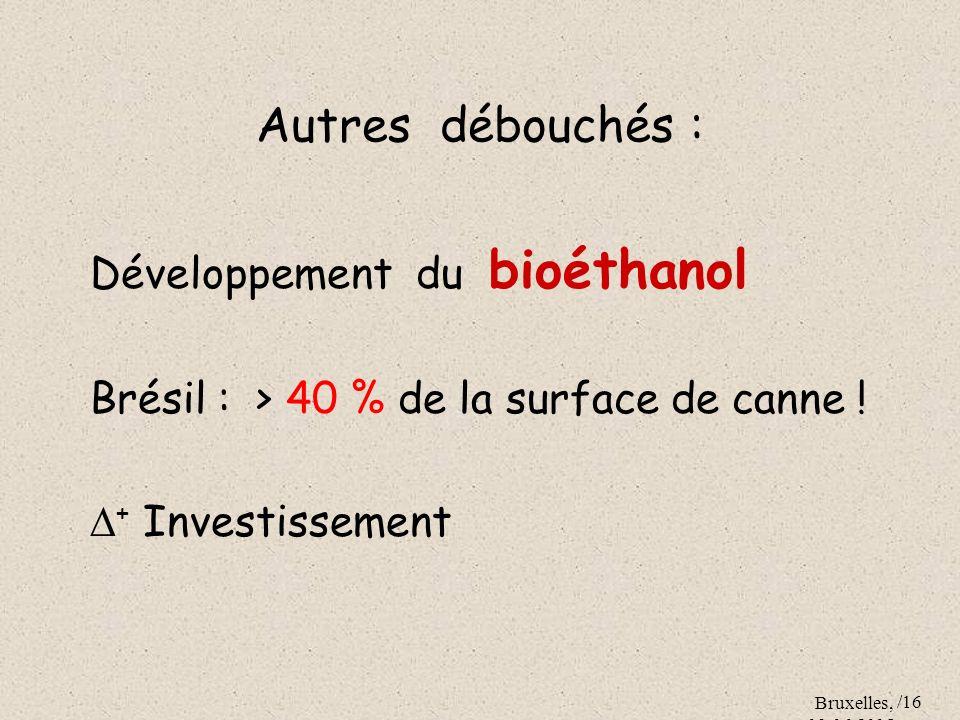 Autres débouchés : Développement du bioéthanol
