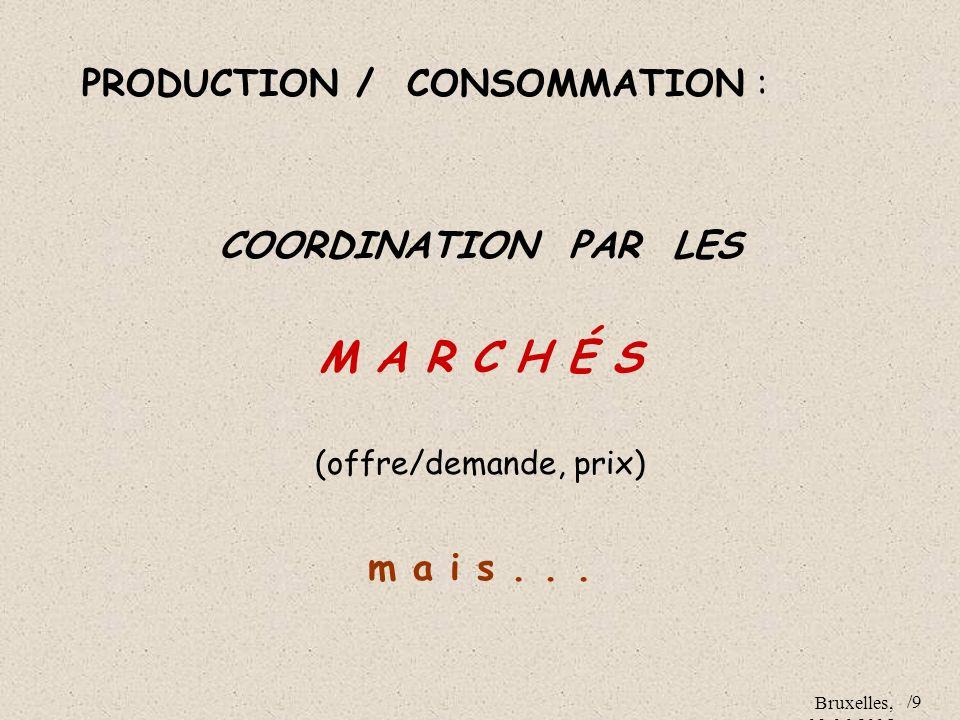 M A R C H É S PRODUCTION / CONSOMMATION : COORDINATION PAR LES