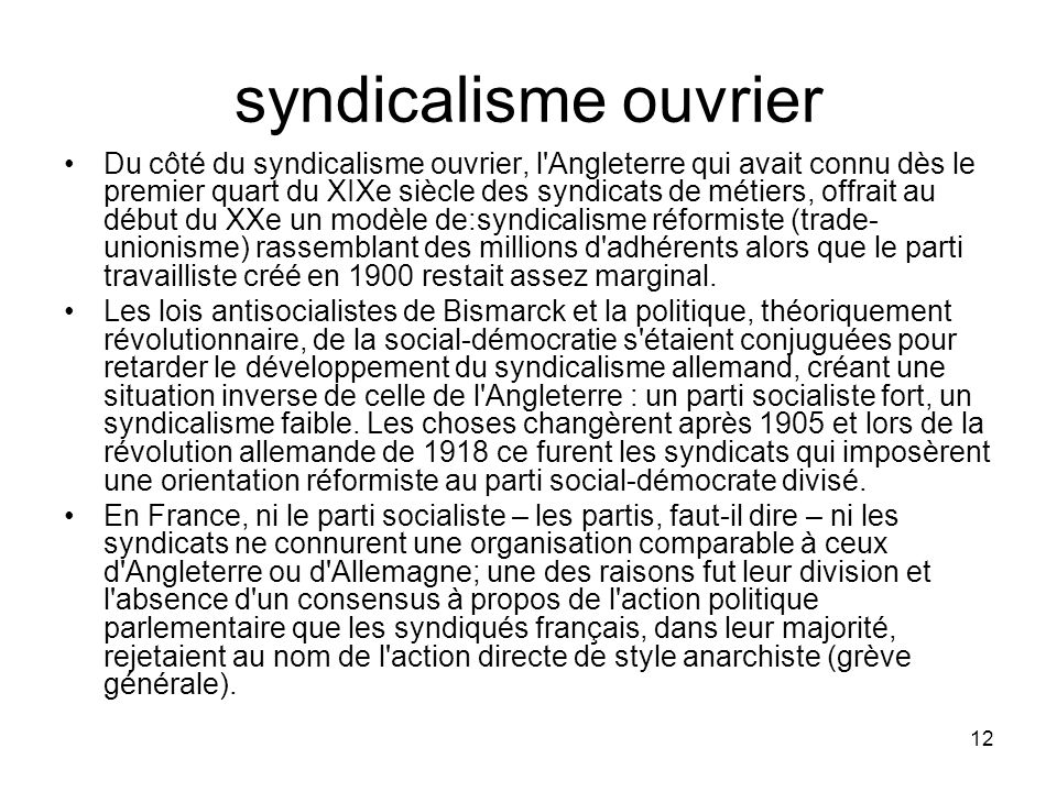 syndicalisme ouvrier