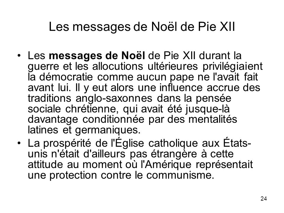 Les messages de Noël de Pie XII