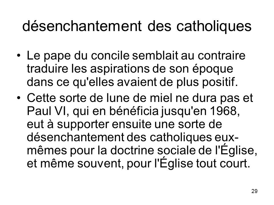 désenchantement des catholiques