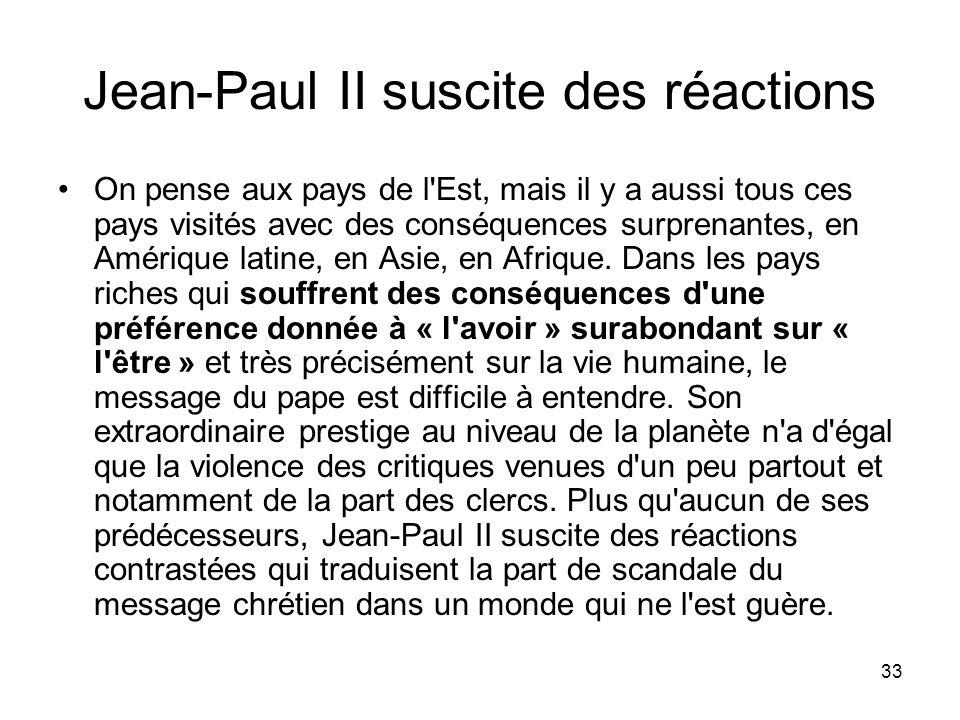 Jean-Paul II suscite des réactions