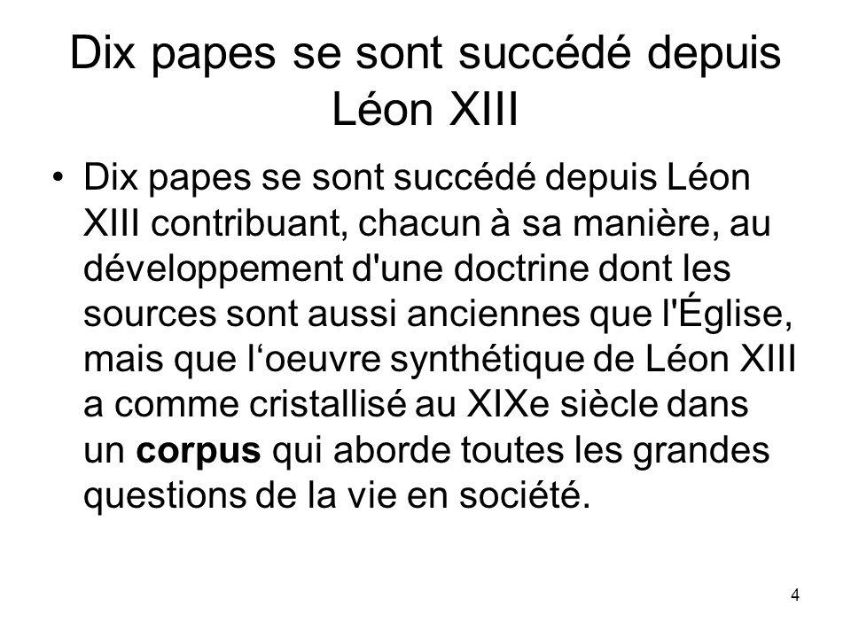 Dix papes se sont succédé depuis Léon XIII