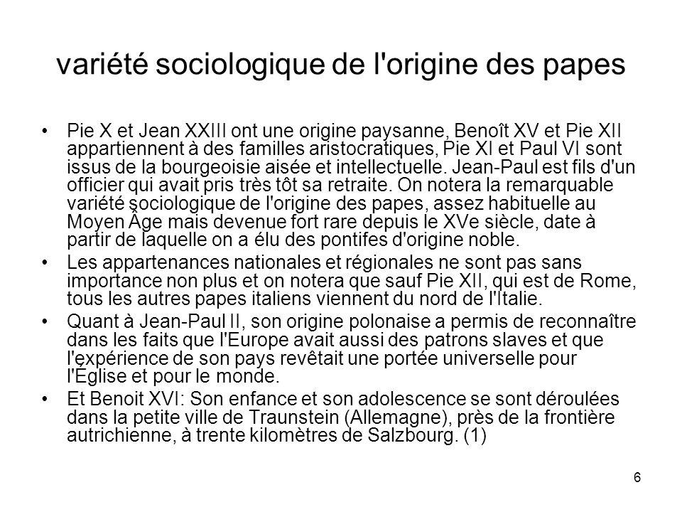 variété sociologique de l origine des papes