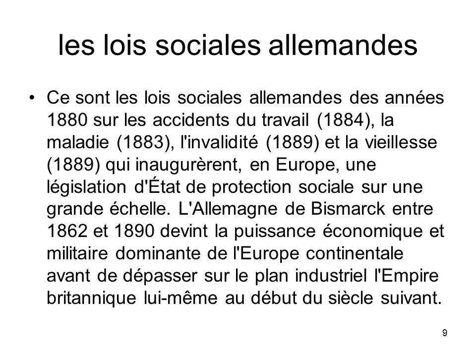 les lois sociales allemandes