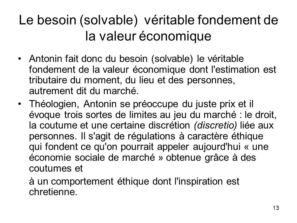 Le besoin (solvable) véritable fondement de la valeur économique