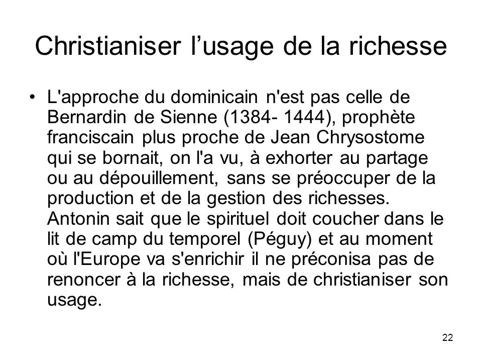 Christianiser l'usage de la richesse