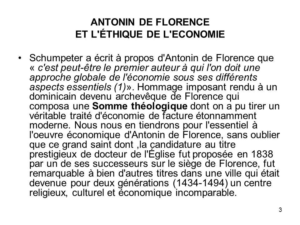 ANTONIN DE FLORENCE ET L ÉTHIQUE DE L ECONOMIE