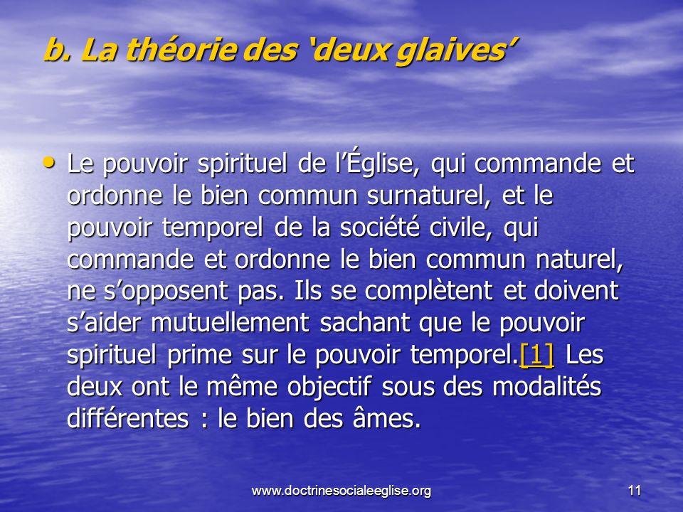 b. La théorie des 'deux glaives'