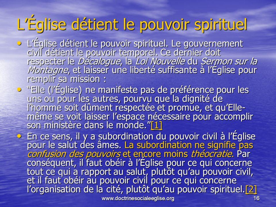 L'Église détient le pouvoir spirituel