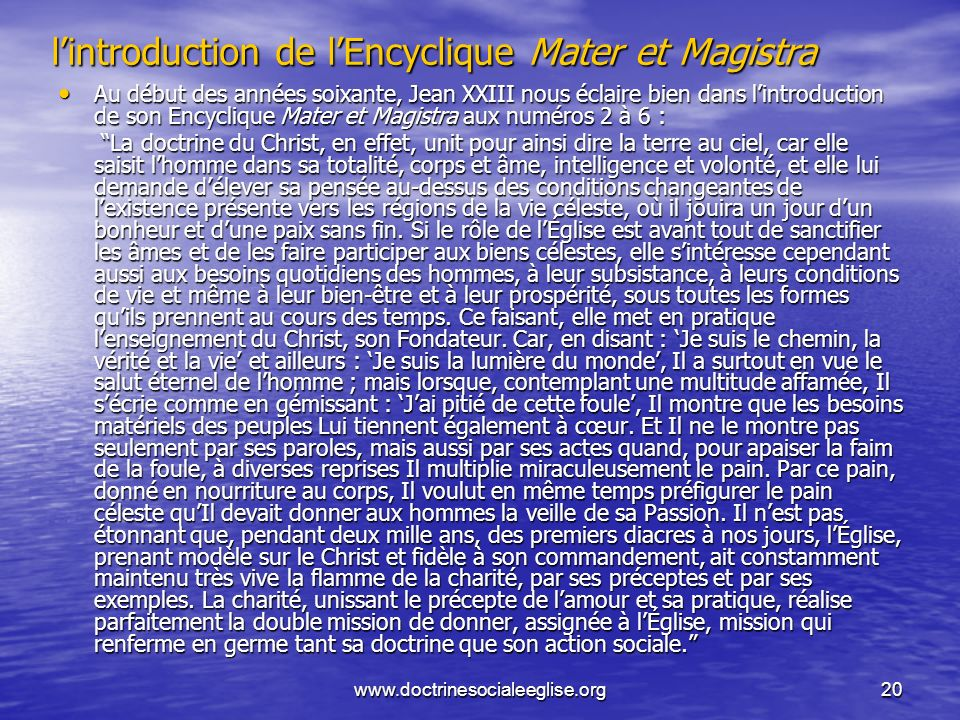 l'introduction de l'Encyclique Mater et Magistra