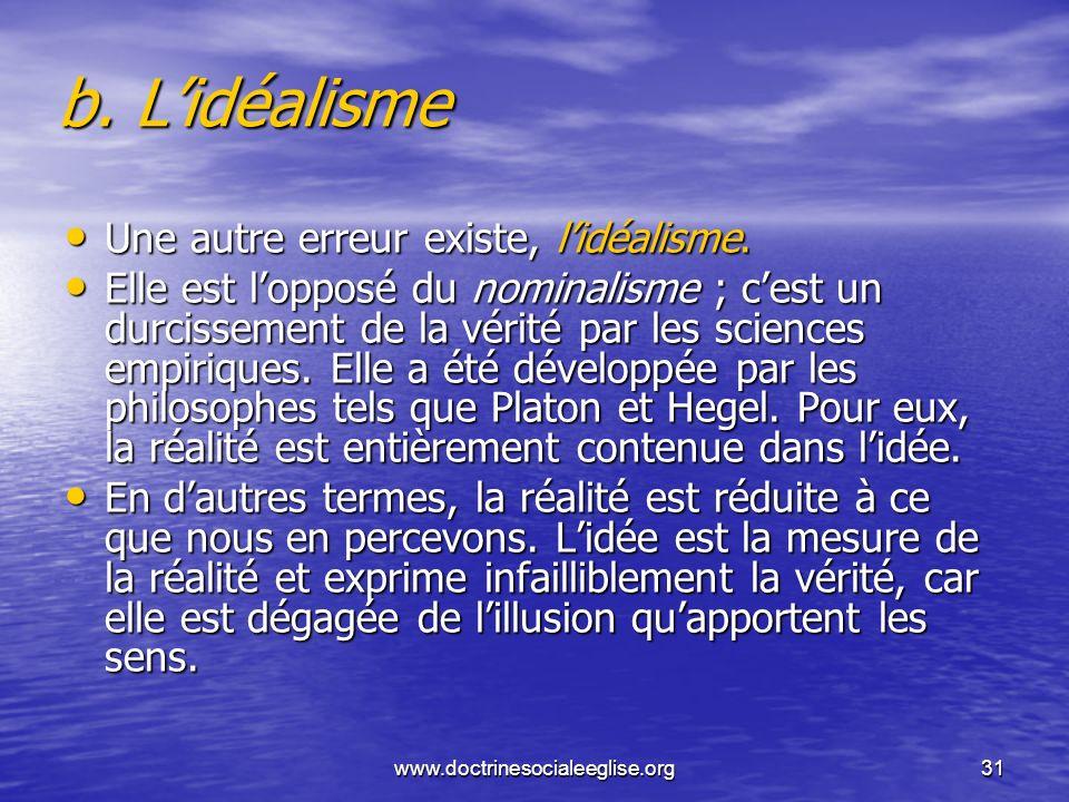 b. L'idéalisme Une autre erreur existe, l'idéalisme.