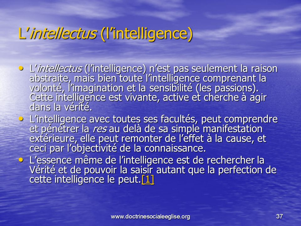 L'intellectus (l'intelligence)