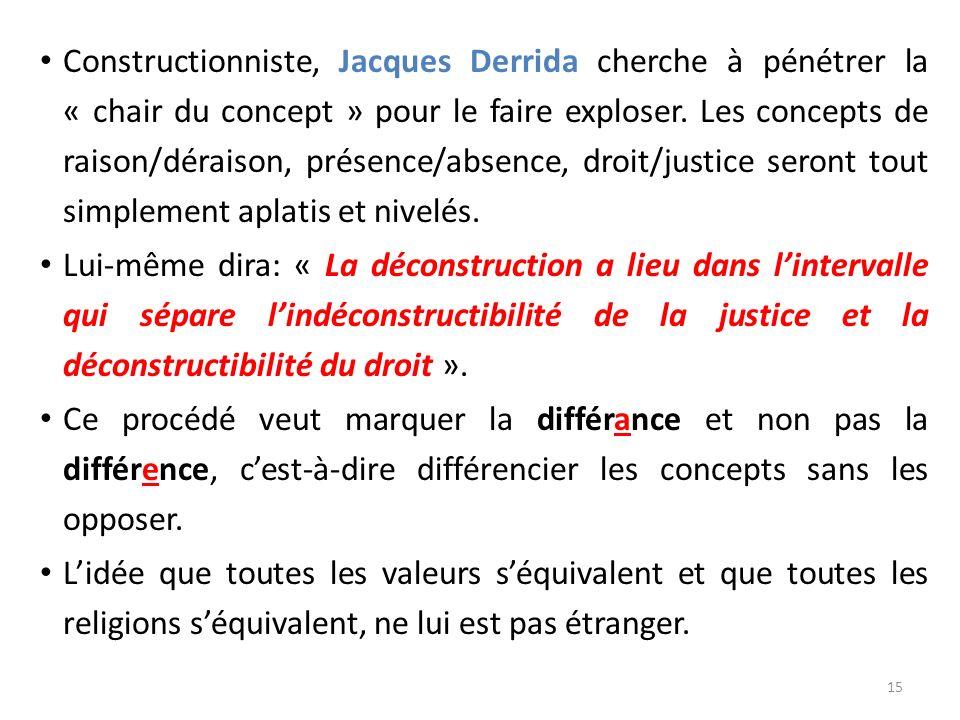 Constructionniste, Jacques Derrida cherche à pénétrer la « chair du concept » pour le faire exploser. Les concepts de raison/déraison, présence/absence, droit/justice seront tout simplement aplatis et nivelés.