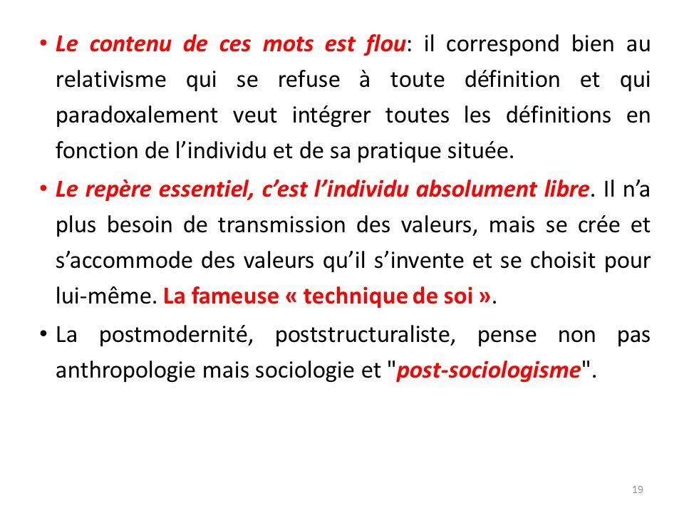 Le contenu de ces mots est flou: il correspond bien au relativisme qui se refuse à toute définition et qui paradoxalement veut intégrer toutes les définitions en fonction de l'individu et de sa pratique située.