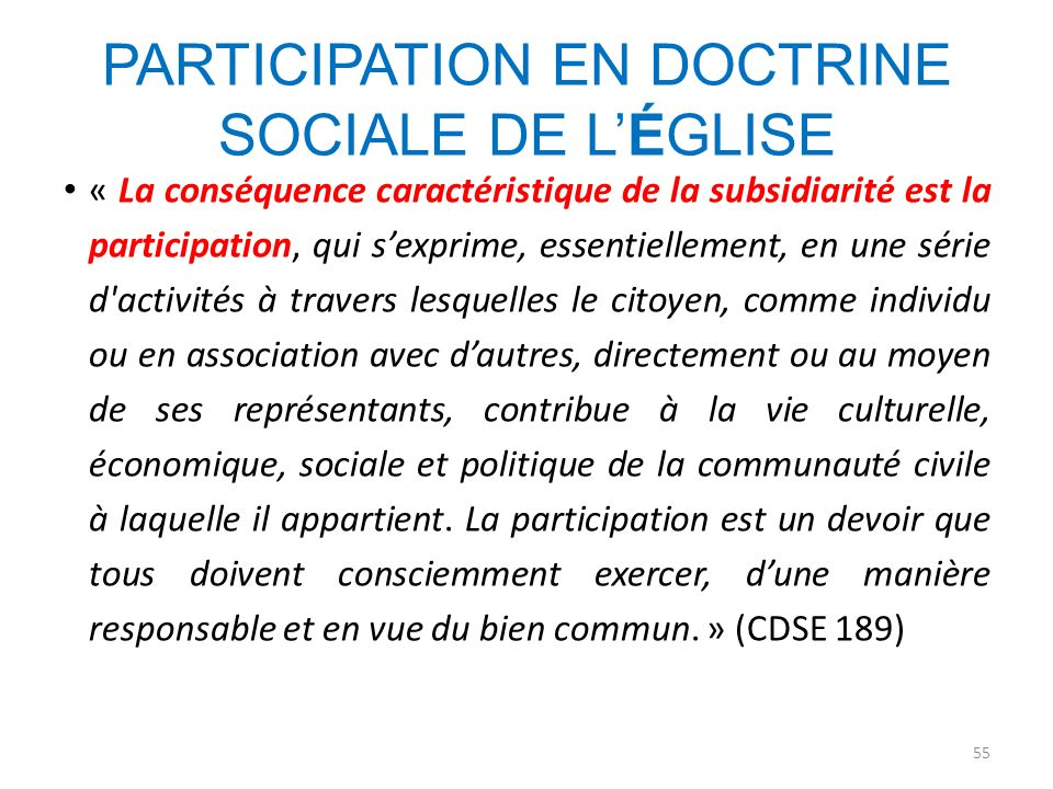 PARTICIPATION EN DOCTRINE SOCIALE DE L'ÉGLISE