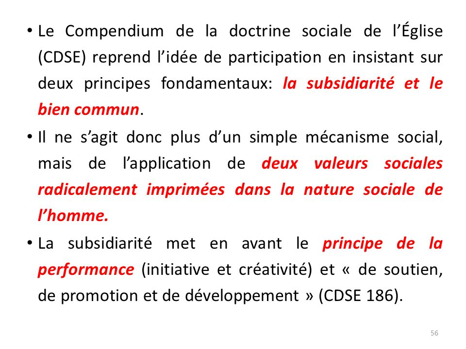 Le Compendium de la doctrine sociale de l'Église (CDSE) reprend l'idée de participation en insistant sur deux principes fondamentaux: la subsidiarité et le bien commun.