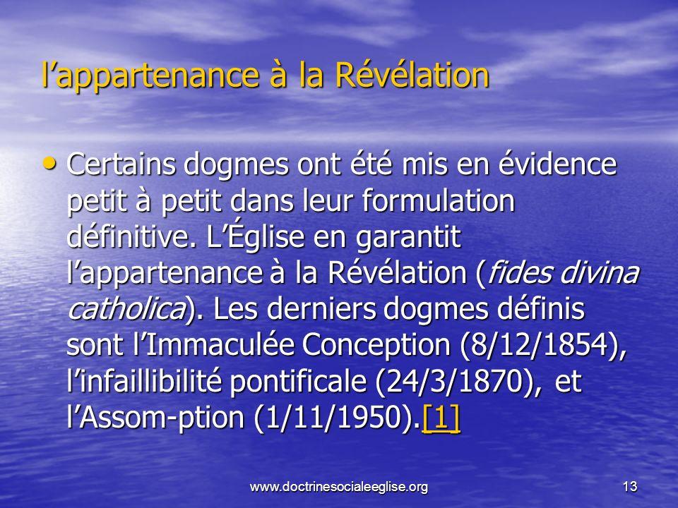 l'appartenance à la Révélation