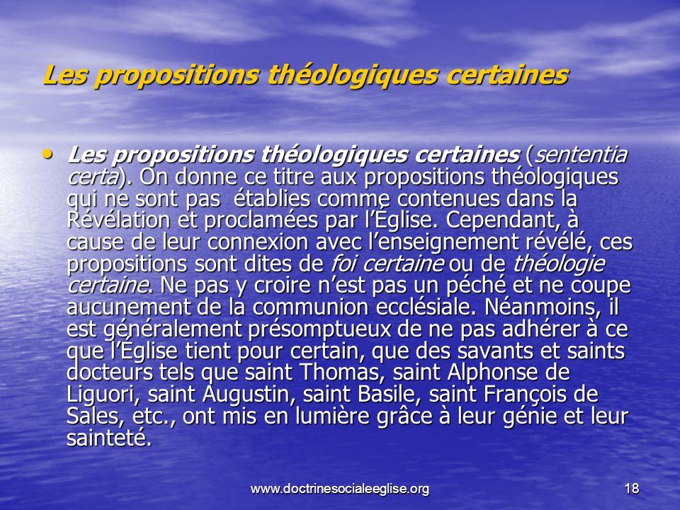 Les propositions théologiques certaines