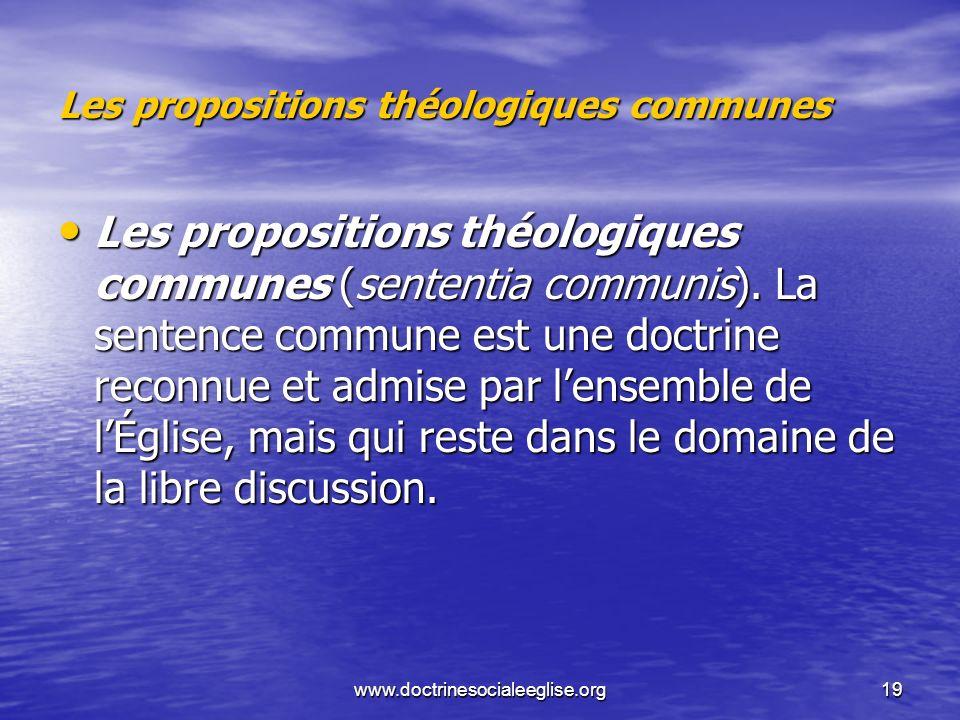 Les propositions théologiques communes