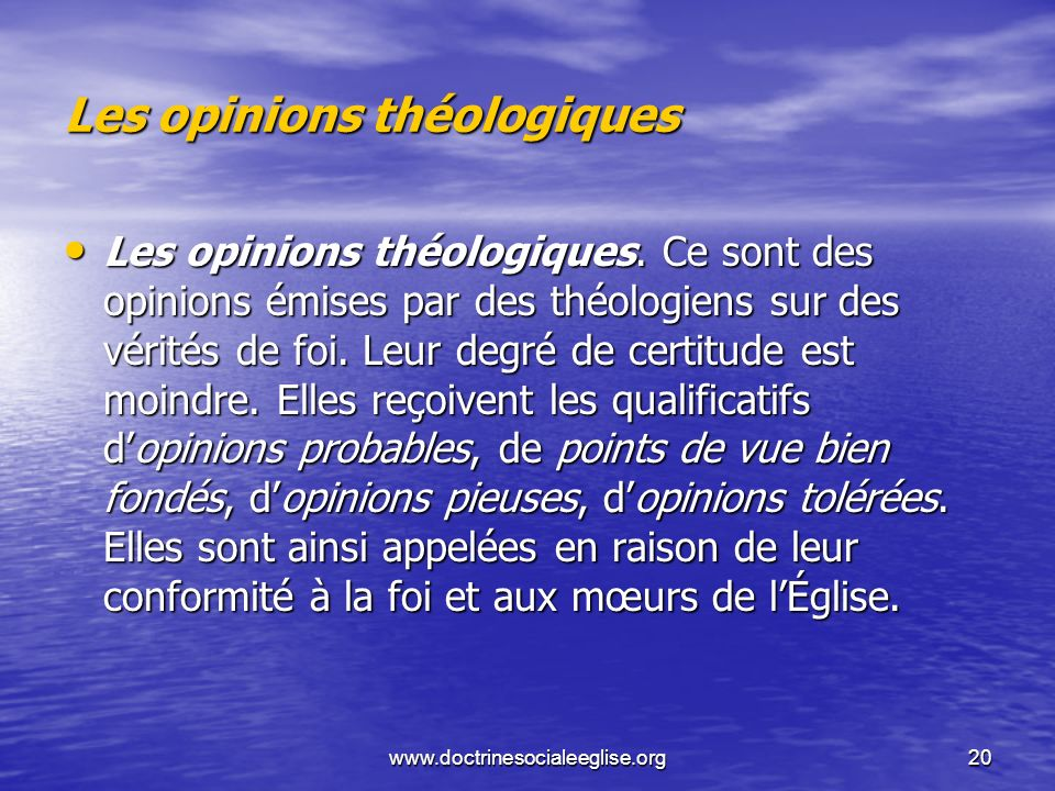 Les opinions théologiques